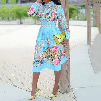 Autumn Long Sleeve Women Pleated Floral Print Dress 2019 Elegant Female Plus Size African Office Ladies Vintage Midi Dress Retro 2
