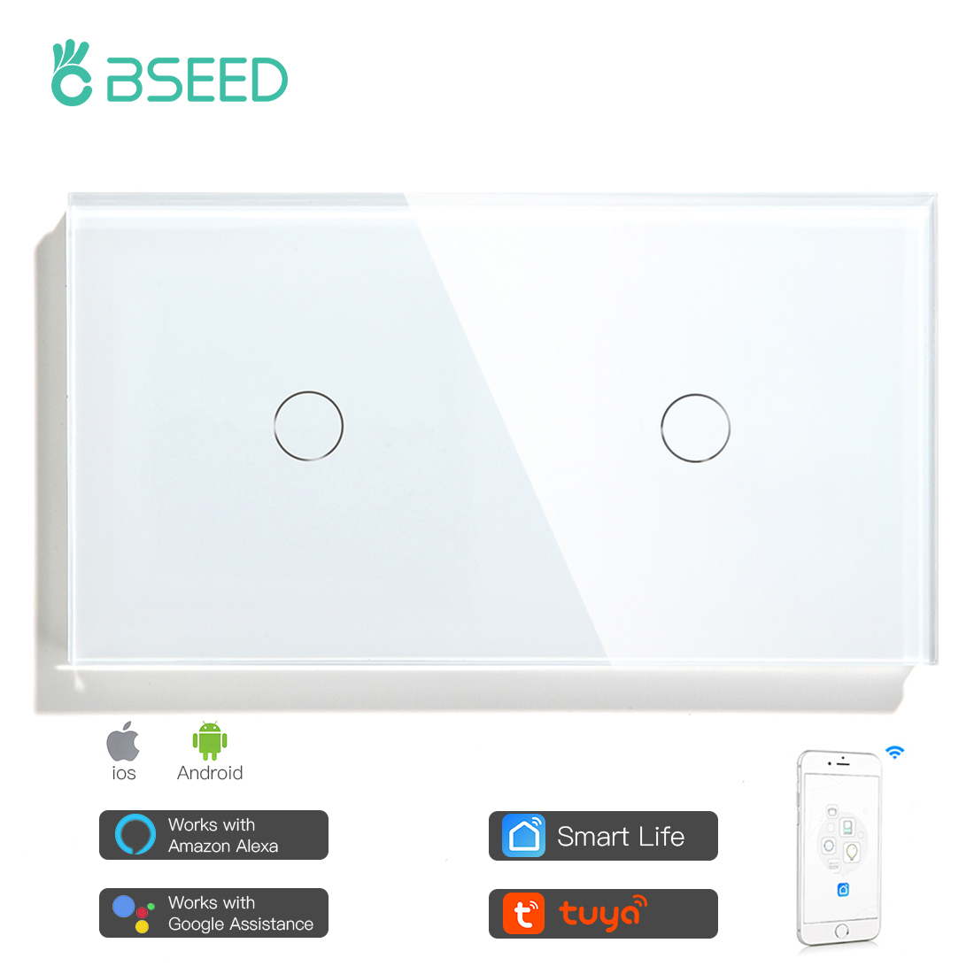 BSEED WIFI Double Light Switches Smart Touch Sensor Wall Switches Google Alexa Smart Life App 2Gang 1/2/3 way Smart Switches