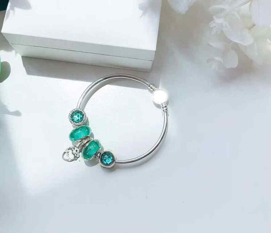 Haute qualité 1:1 100% 925 argent sterling vert factures coeur pendentif charte bracelet pendentif