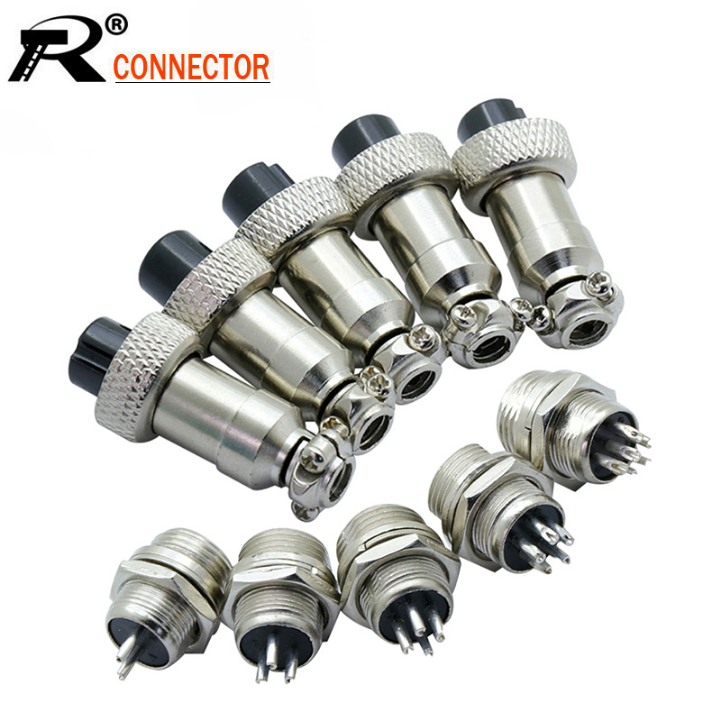100pcs/lot GX12 Aviation Plug Socket Male / Female 2 <font><b>3</b></font> 4 <font><b>5</b></font> 6 Pin 12mm Circular Aviation Socket <font><b>Jack</b></font> Wire Connector image