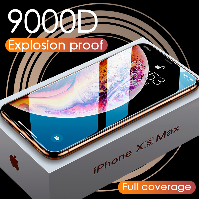Luxury 9000D Glass For IPhone 11 Pro XS MAX XR X Screen Protector Curved Tempered Glass For IPhone XR 10 7 8 6S Plus Cover Film