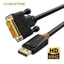 Cabletime Port daffichage vers DVI câble mâle vers mâle DisplayPort DP vers DVI adaptateur de connexion 1080P 3D pour HDTV PC projecteur N080