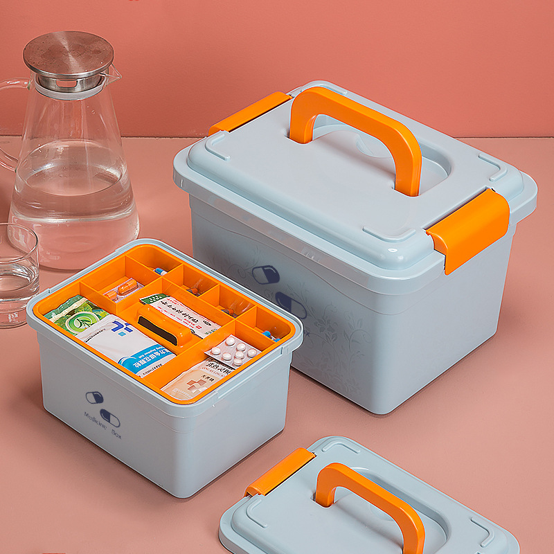 Multi-layered Large First Aid Kit Box Medicine Storage Box Plastic Drug Gathering Organizer Box For Family