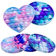 Fidget reliever stres zabawki Rainbow Push It Bubble zabawki antystresowe proste dołek zabawka sensoryczna aby złagodzić autyzm bezpłatne Shippingren tanie tanio CN (pochodzenie) 4-6y 7-12y 12 + y 18 + Relief Antistress PopIt