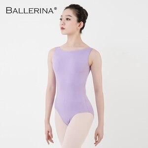 Image 4 - Leotardo de Ballet para mujer, traje de baile de práctica, para Adulto, aerista, gimnasia, sin mangas, leotardos rojos, bailarina, 5684