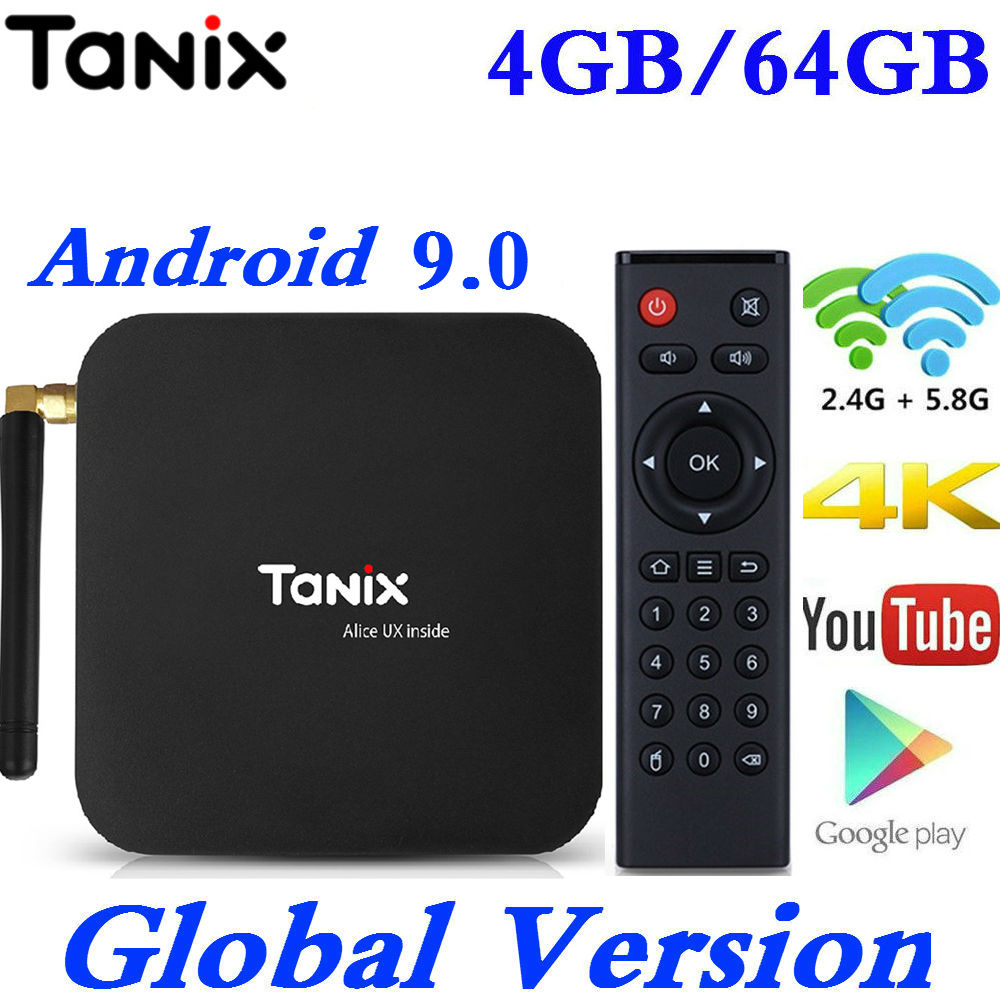 Tanix TX6 Android 9.0 TV Box Allwinner H6 Quad Core 4G RAM 32G/64G ROM Speed 4K 2.4G/5GHz Dual WiFi Google Youtube Media Player