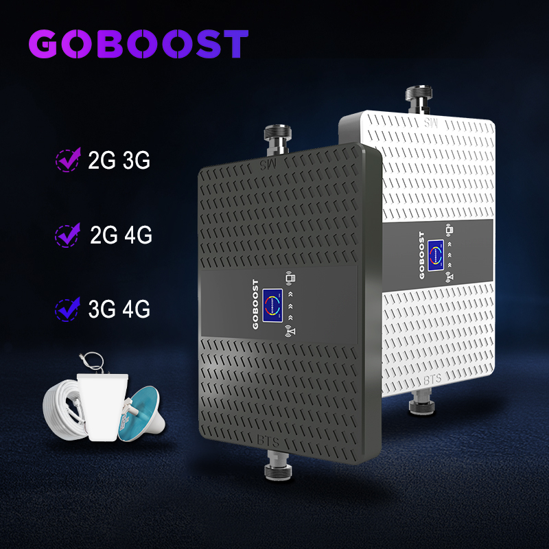GOBOOST Repeater Gsm 2g 3g 4g Cellular Signal Booster GSM 900 1800 2100mhz Cellular Amplifier 4G LTE 3G Repeater Dual Band 70dB