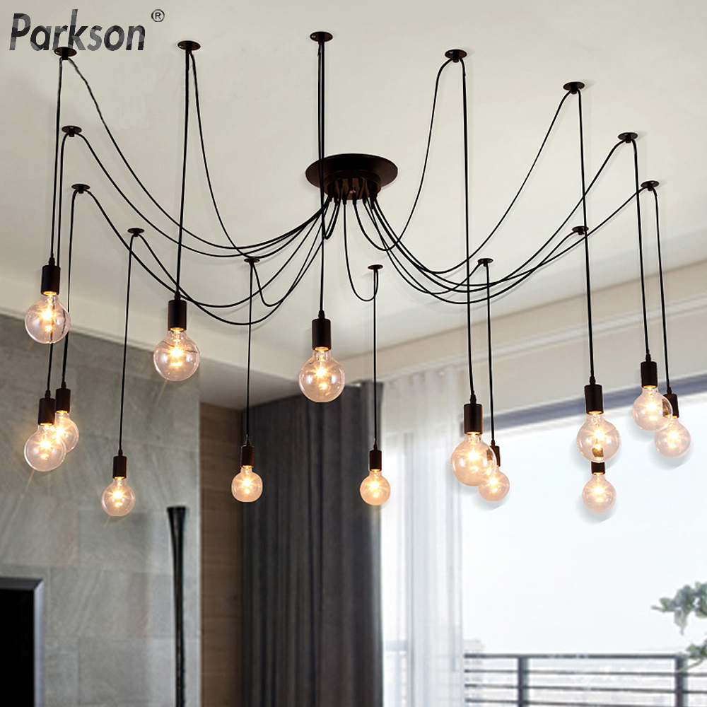 Modern Nordic Retro Pendant Lights E27 LED Edison Bulb Vintage Lamps DIY Spider Pendant Lights Indoor Loft Home Decoration Light