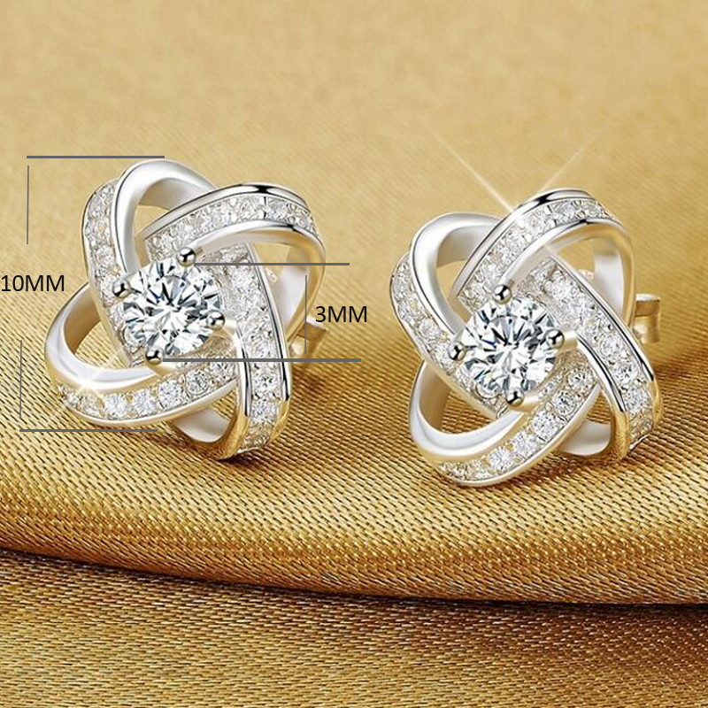 YANHUI 100% Original 925 Solid Silver Crystal Stud Earrings For Women Luxury Cubic Zirconia Wedding Earring Jewelry Accessory