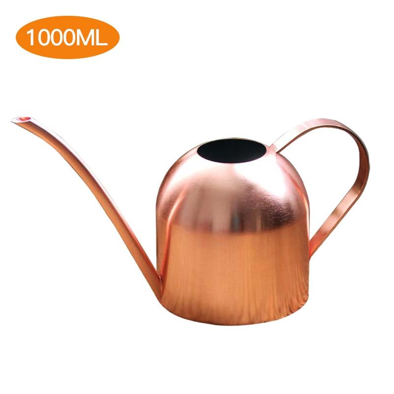 500/1000 ml rega pode ouro cor ouro rosa pote de aço inoxidável bico longo dentro casa planta pote garrafa rega dispositivo