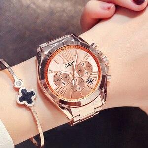 Image 1 - למעלה מותג יוקרה עלה זהב נשים שעון עמיד למים לוח שנה ייחודי קוורץ עסקי שמלת שעונים לנקבה זהב גברת שעון