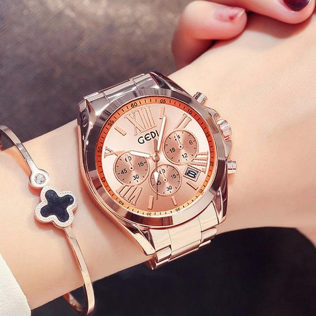 למעלה מותג יוקרה עלה זהב נשים שעון עמיד למים לוח שנה ייחודי קוורץ עסקי שמלת שעונים לנקבה זהב גברת שעון