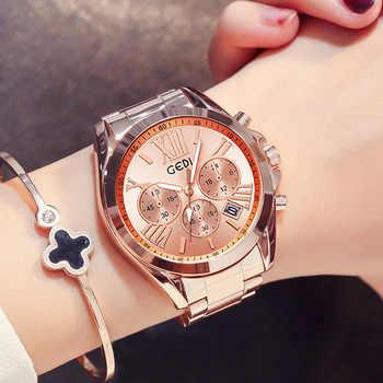 Top Brand Luxury Rose Gold Women Watch Waterproof Calendar Unique Quartz Business Dress Watches for Female Golden Lady Clock - DISCOUNT ITEM  43 OFF Watches