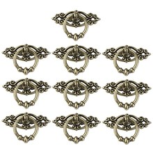 TOP!-10Pcs Vintage Kitchen Cabinet Cupboard Dresser Door Drawer Ring Pull Handles Knobs (Antique Brass)(China)