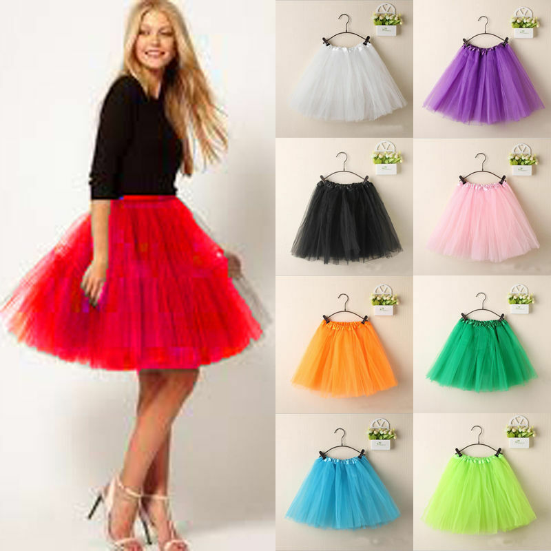 Hot Fashion Women Fluffy Adult Novelty Colorful Women Tulle Tutu Dance Ballet Mini Skirt