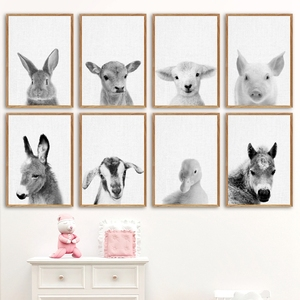 Farm Animals Nordic Posters and Prints Modern Nursery Wall Decor , Horse Duck Donkey Cow Pig Photo Art Canvas Painting Pictures(China)