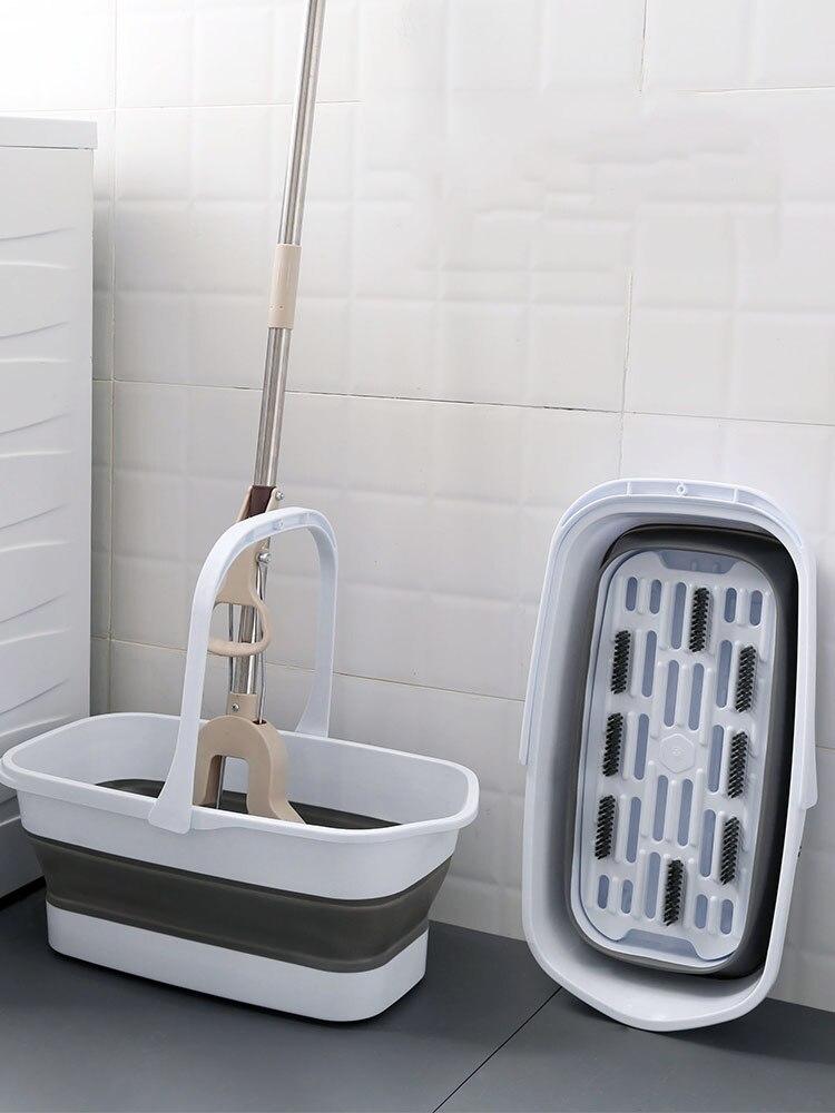 Cubo plegable de mopa portátil para Camping, lavabo con mango para pesca, limpieza de coche, balde plegable con mopa para pisos, utensilio doméstico