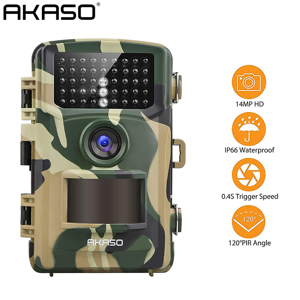 AKASO Trail Game Camera 14MP 1080P Night Vision Wildlife Hunting Scouting Cam IP66 Waterproof 120° Angle Wild Camera Action Cam image