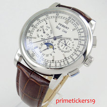 Hot self winding DEBERT men's watch 42mm white dial brown strap date week indica