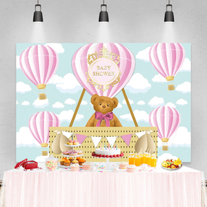 Image 5 - Laeacco Birthday Party Photography Backdrops Blue Sky White Clouds Balloons Bear Newborn Baby Shower Photo Backgrounds Photocall