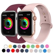 Силиконовый ремешок для наручных часов Apple Watch, 42 мм, 38 мм, Версия 44 мм 40 мм резиновый браслет Ремешки черный ремешок наручных часов Iwatch серии 5/4/3/2/1 браслет