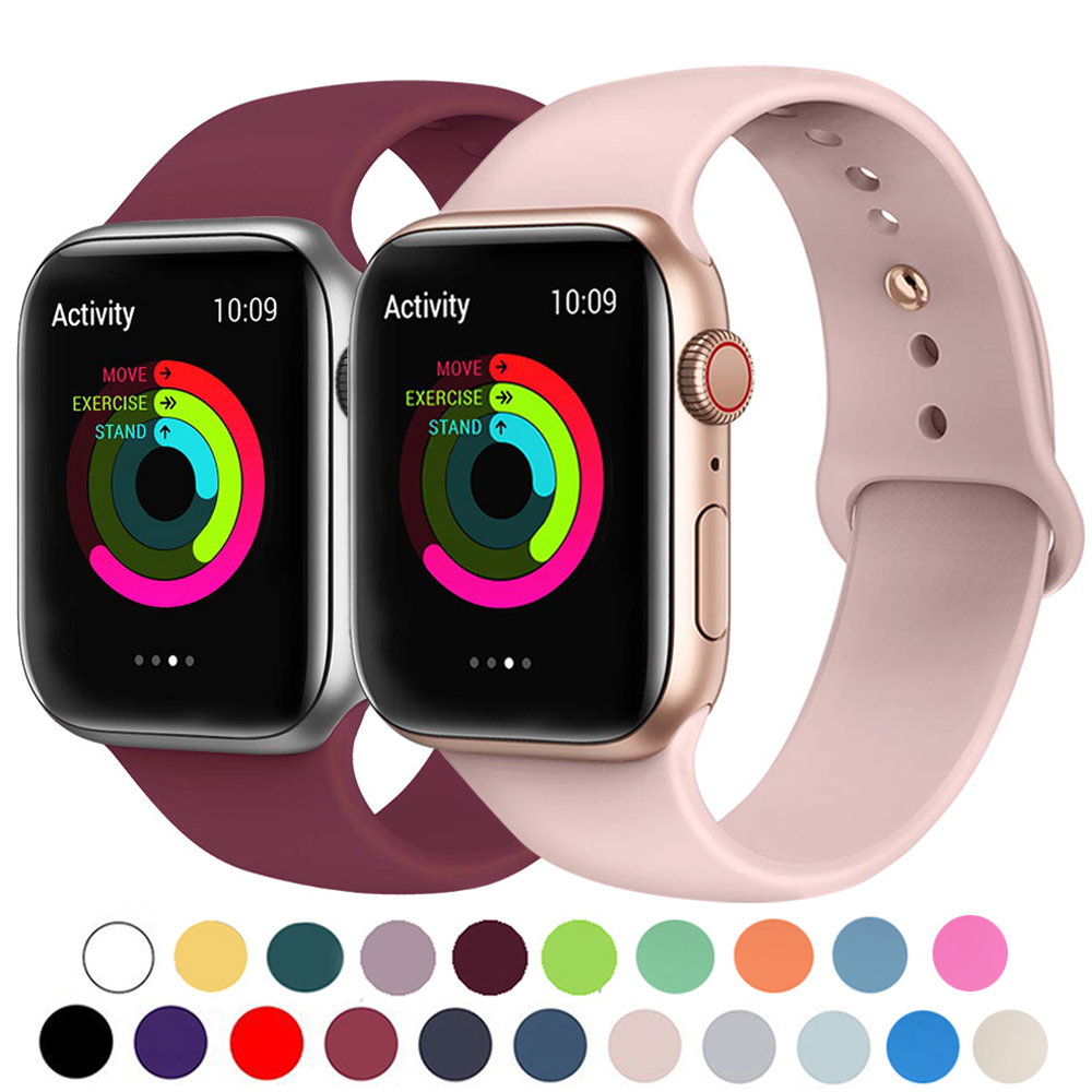 Silicone Strap Band For Apple Watch 42mm 38mm 44mm 40mm Rubber Bracelet Watchbands Black Strap Iwatch Series 5/4/3/2/1 Wristband
