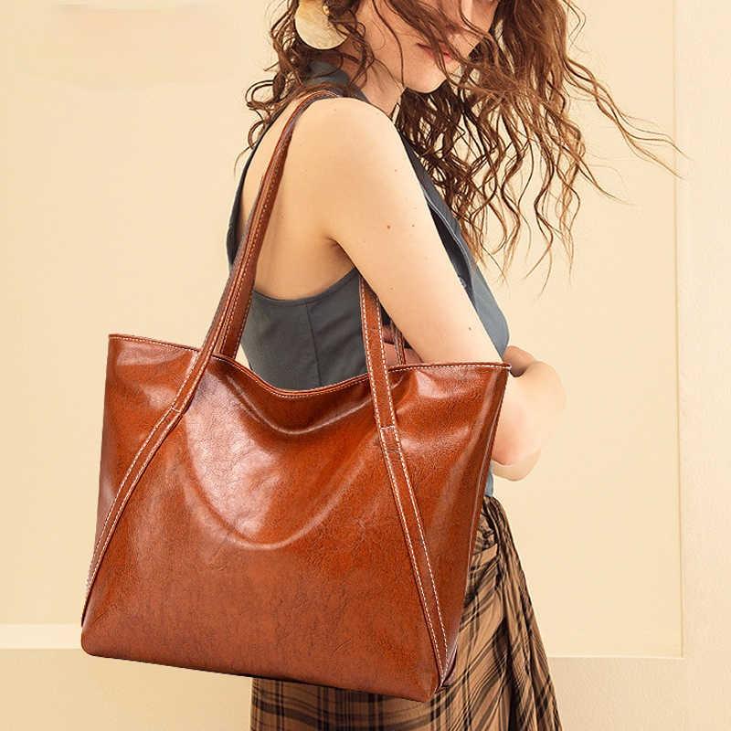 Однотонные Наплечные сумки через плечо из искусственной кожи для женщин, вместительные мягкие повседневные сумки-тоуты, универсальные сумки для покупок
