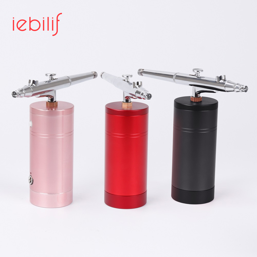 Iebilif Protable Airbrush Spray Gun Oxygen Meter Skin Rejuvenation Mouisture Facial Clean Makeup Kit Airbrush Beauty Salon