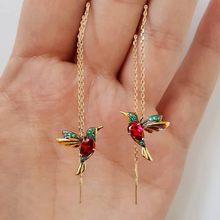 Boucles d'oreilles longues colibri au Design Unique, pendentif oiseau volant, pompon en cristal, boucles d'oreilles en cuivre, décoration de fête Diy