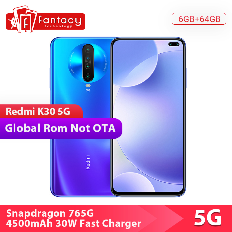 Global Rom Xiaomi Redmi K30 5G Snapdragon 765G 6GB 64GB Smartphone Octa Core 64MP Quad Camera 6.67'' 120HZ Fluid Display 30W