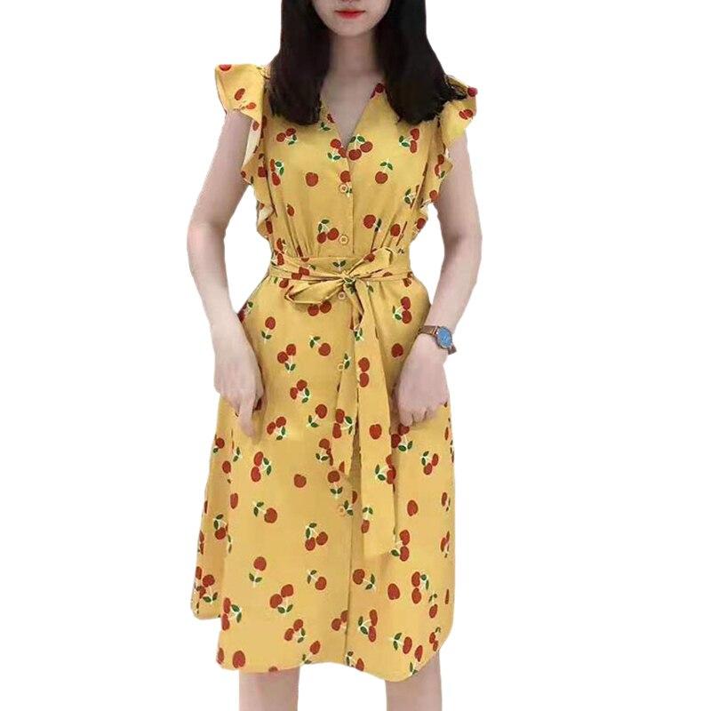 Nieuwe collectie 2019 vrouw casual v hals ruches mouwen self tie riem knie lengte dames zomer cherry print gele jurk hot sales-in Jurken van Dames Kleding op  Groep 1