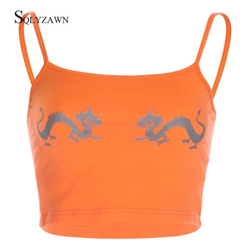 Camisola estampada con dragón reflectante de verano para Mujer, camiseta sin mangas con elementos chinos, ropa de calle para niñas, camisetas cortas con tiras para Mujer
