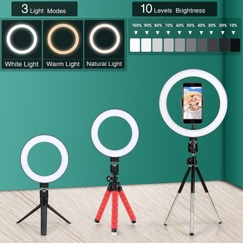 16/26cm Photography Light LED Selfie Flash RingLight Desktop Dimmable Camera Phone Ring Lamp For Makeup Video Live Photo Studio 1