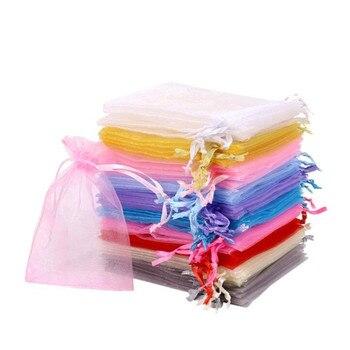 Bolsas de joyería de Organza con cordón, 50 Uds., bolsa de regalo o Navidad para boda, suministros de embalaje de joyería, decoración de comunión 5z
