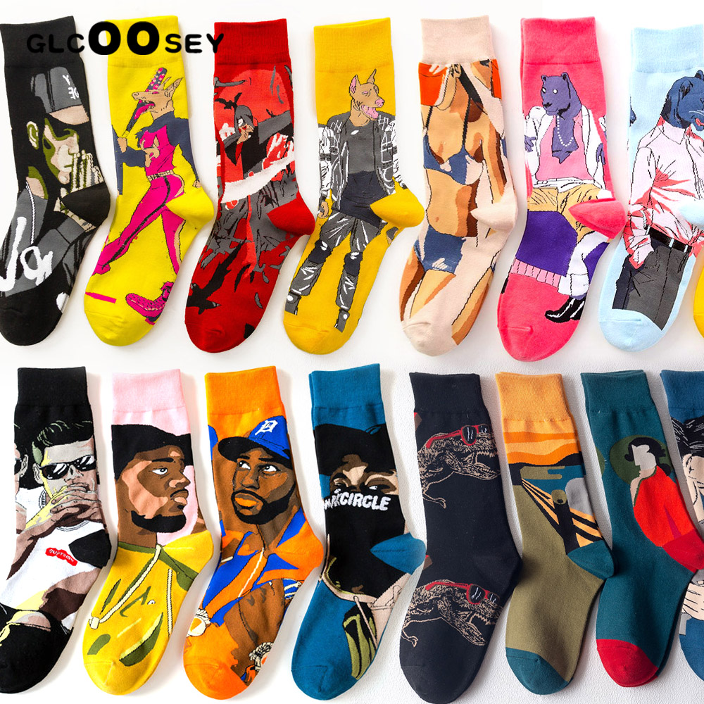 Creative Street Fashion Tide Skateboard Hip-hop Socks Personality Cotton Couple Lovers Mid-High Socks For Men Women College Sock