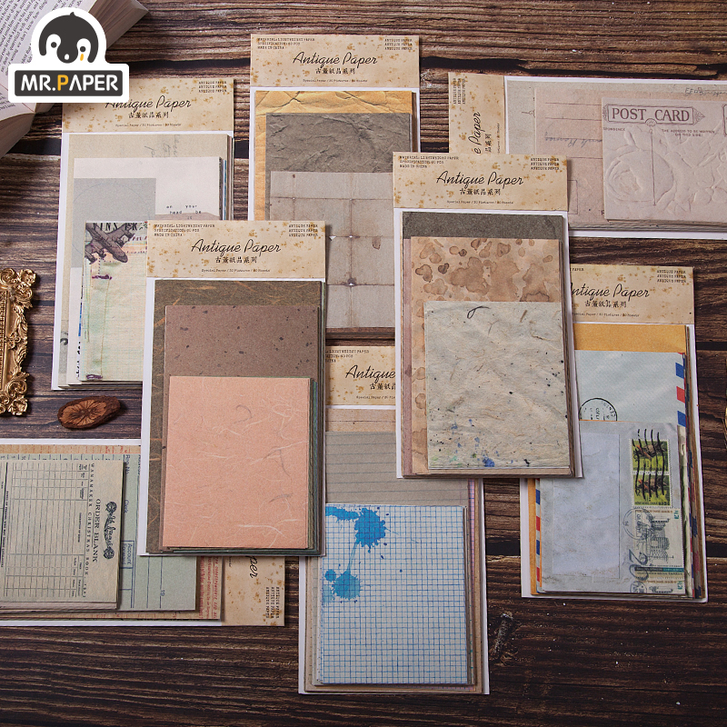 Mr.paper 60pcs/lot Antique Collage Light Paper Kraft Card Journaling Bullet Scrapbooking Material Paper Fresh Words LOMO Cards 1