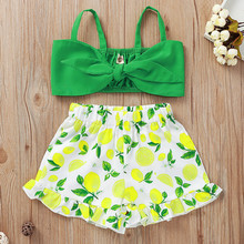 Toddler Summer 2020 Baby Girls Clothes Set Kids Baby Girls Vest Ruffle Leaf Print Shorts Outfits Girls Summer Clothes Ropa Nina cheap Fashion O-Neck Pullover Kids Clothes COTTON Polyester Sleeveless REGULAR Fits true to size take your normal size Coat Solid