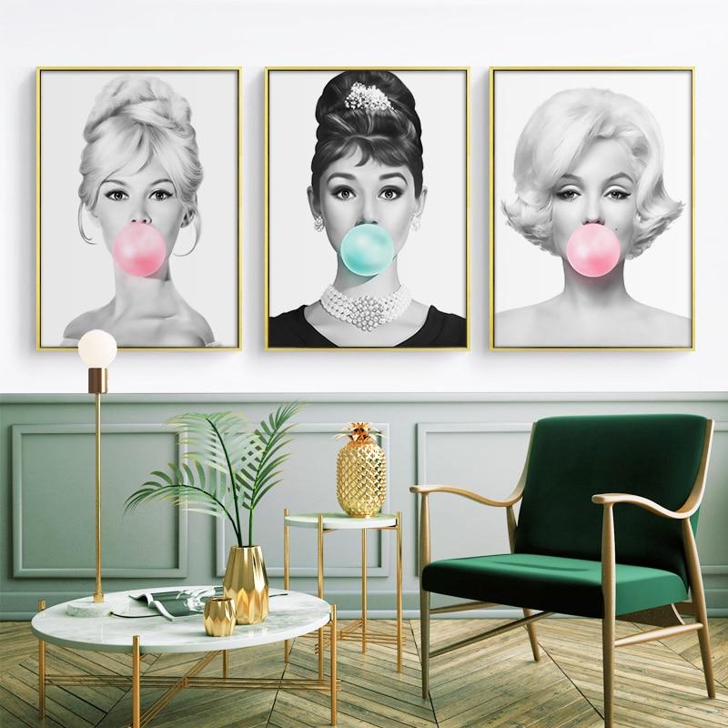 Audrey Hepburn kabarcık sakız duvar sanatı tuval moda posterler Brigitte Bardot & Marilyn Monroe baskılar boyama resimleri ev dekorasyonu