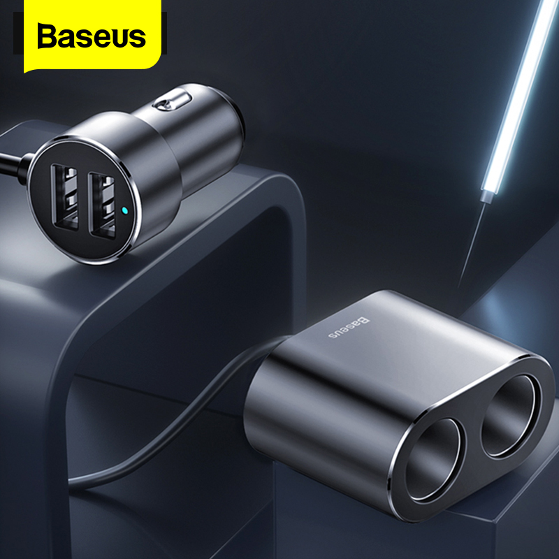 Baseus Car Splitter Cigarette Lighter 12V-24V Dual USB Car Charger Socket 100W Car Auto Splitter Power Adpater For Car USB HUB