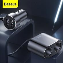 цена на Baseus Car Splitter Cigarette Lighter 12V-24V Dual USB Car Charger Socket 100W Car Auto Splitter Power Adpater For Car USB HUB