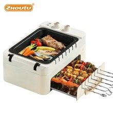 3 em 1 máquina elétrica da grade do kebab do bbq, 1000w automático que gira a grade sem fumaça, forno compacto & portátil da grade da não-vara