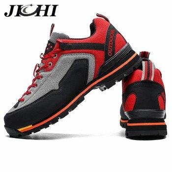 Jichi, zapatillas de cuero para hombre, zapatillas informales impermeables, Zapatillas para hombre, transpirables, cómodas, para exteriores, antideslizantes, zapatos con cordones para hombre, talla 47