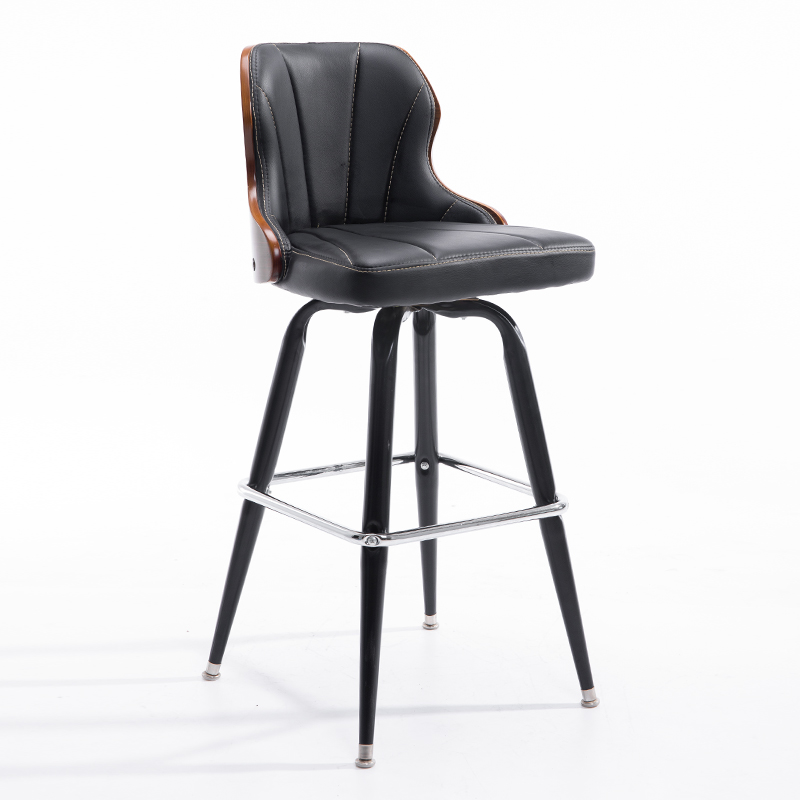 European Style Bar Chair, Solid Wood Back, Iron    Stool, High Foot  Rotating   Household Creativity