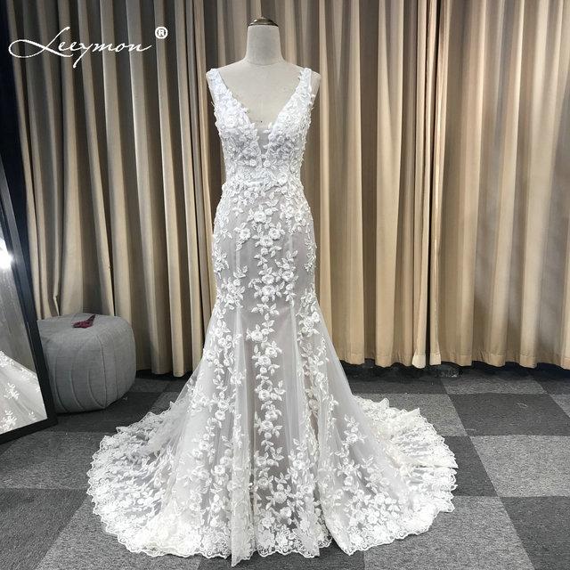 Leeymon Mermaid Ivory Kant Applicaties Wedding Dress V hals Kralen Sexy Backless Bruidsjurk Robe de Mariee
