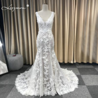 Leeymon Mermaid Ivory Lace Appliques Wedding Dress V Neck Beaded Sexy Backless Bridal Gown Robe de Mariee