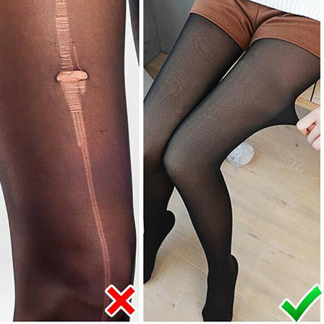 Leggings Women 2020 High Quality Legs Fake Translucent Warm Fleece Slim Stretchy For Winter Outdoor Women Ropa Mujer 5