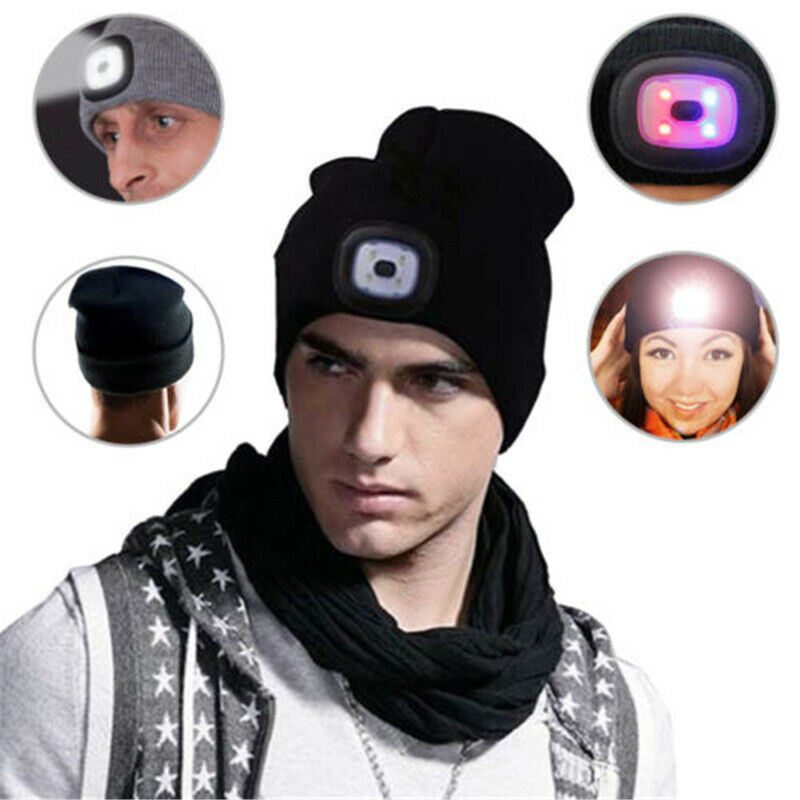 Hot Sale High Powered Light Unisex LED Beanie Hat With  Rechargeable Battery 5 Hours