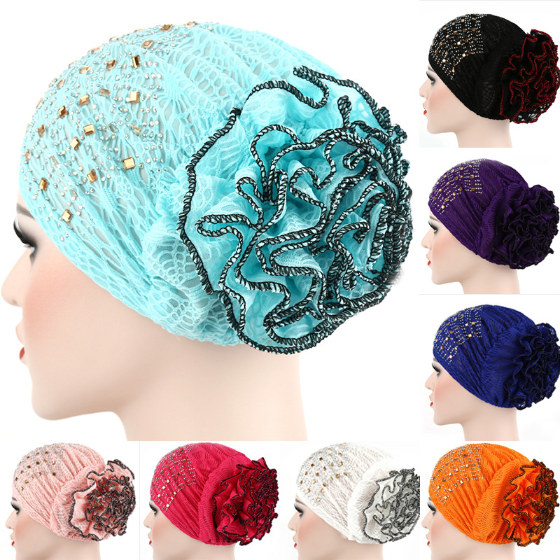 Trendy Muslim Hijab Bonnet Indian Arab Turban Cap With Diamond Solid Cotton Flowers Hijab Caps For Women Islamic Wrap Turbantes