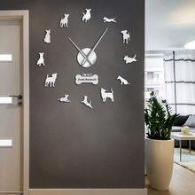 Horloge murale contemporaine pour chien de chasse au renard, Jack Russell, effet miroir, grande taille, bricolage