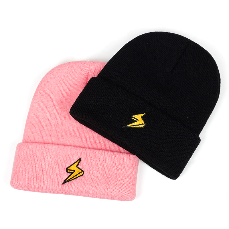 New Version Of Lightning Embroidery Wool Hat Fashion Outdoor Windproof Warm Hat Couple Wild Caps Outdoor Sports Leisure Cap